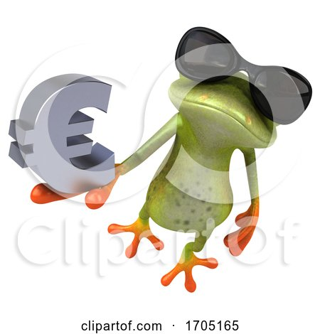 3d Green Frog, on a White Background by Julos