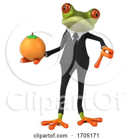 3d Green Business Springer Frog, on a White Background by Julos