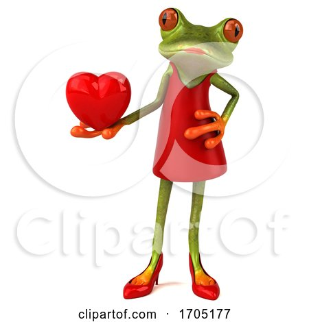 3d Female Frog, on a White Background by Julos