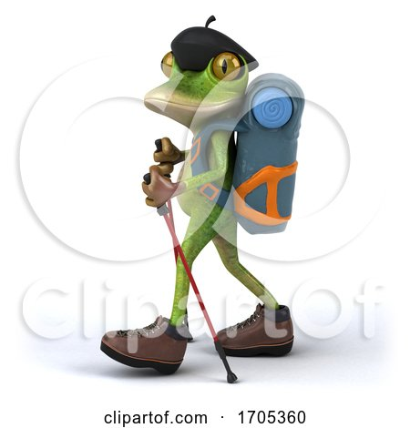 3d Green Frog Backpacker, on a White Background by Julos