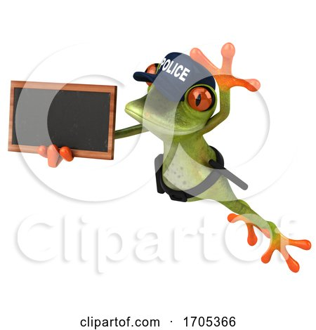 3d Green Police Frog, on a White Background by Julos