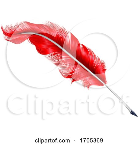 Red Plume Feather Quill Pen by AtStockIllustration