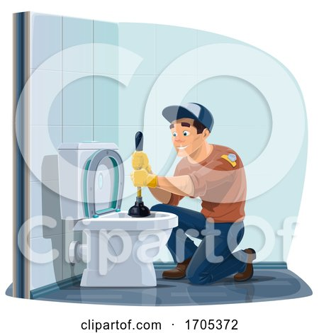 Happy Plumber Using a Plunger on a Toilet by Vector Tradition SM