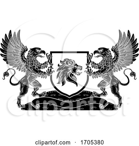 Coat of Arms Crest Lion Griffin or Griffon Shield by AtStockIllustration