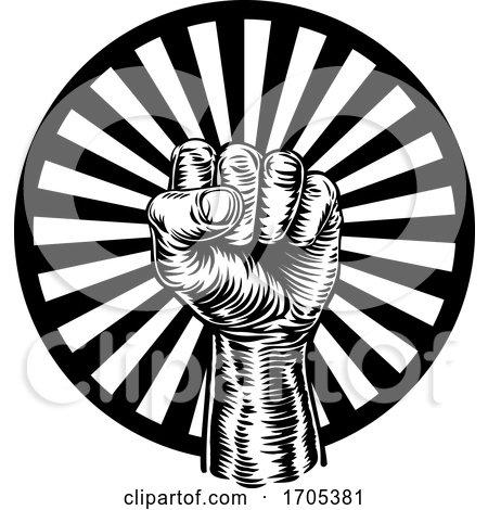 Retro Revolution Hand Fist Raised Air Propaganda by AtStockIllustration