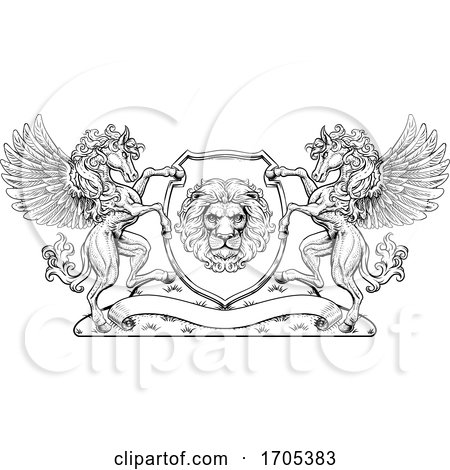 Crest Pegasus Horses Coat of Arms Lion Shield Seal by AtStockIllustration