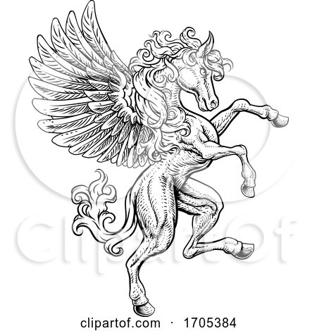 Pegasus Rearing Rampant Wings Coat of Arms Horse by AtStockIllustration