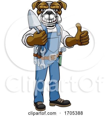 Bulldog Bricklayer Builder Holding Trowel Tool by AtStockIllustration