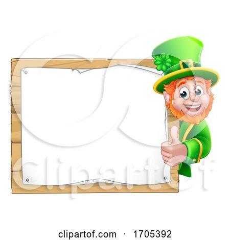 Leprechaun St Patricks Day Cartoon Background Sign by AtStockIllustration