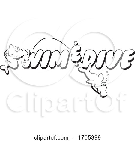 Black and White Swim and Dive Design by Johnny Sajem