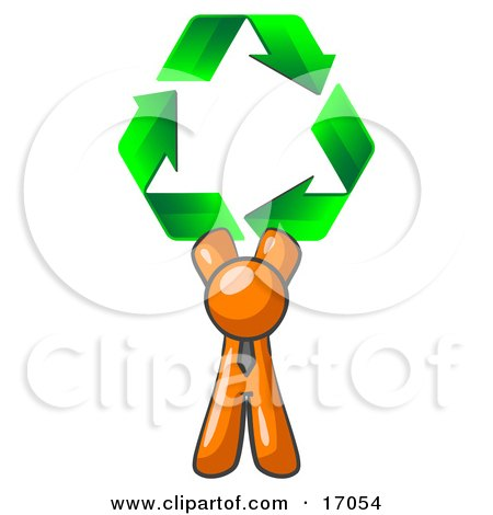 Orange Man Holding Up Three Green Arrows Forming A Triangle And Moving In A Clockwise Motion, Symbolizing Renewable Energy And Recycling  Posters, Art Prints