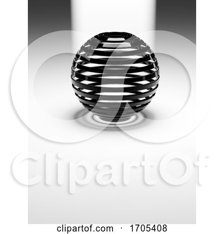 3d Abstract Black Plastic Ribbed Sphere on White Reflective Flat Floor with Light Behind by Steve Young