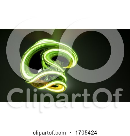 3d Green Abstract Swirling Twisting Shape Glowing in the Darkness by Steve Young