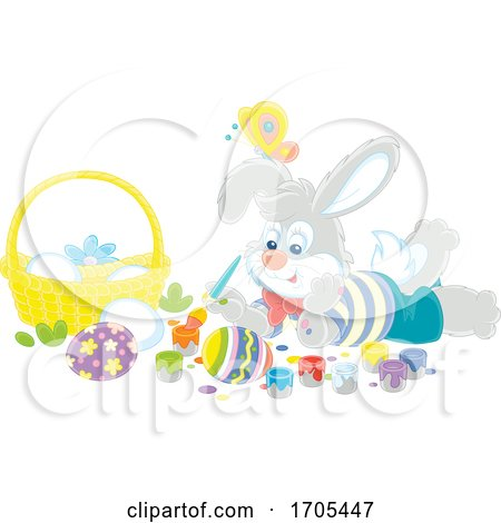 Bunny Rabbit Painting Easter Eggs by Alex Bannykh