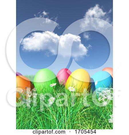 3D Easter Eggs Nestled in Grass Posters, Art Prints