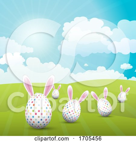 Cute Easter Eggs with Bunny Ears in a Sunny Landscape Posters, Art Prints