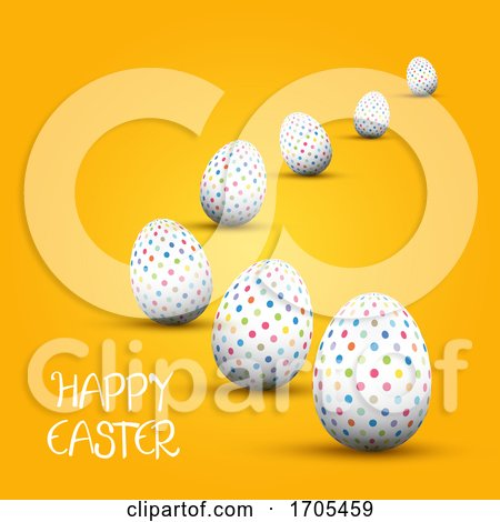 Easter Background with Polka Dot Patterned Eggs Posters, Art Prints