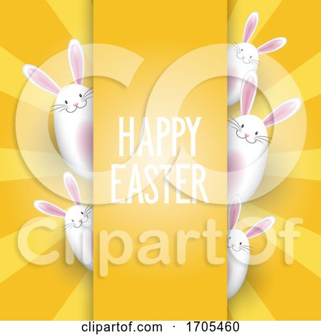 Easter Background with Cute Bunnies Posters, Art Prints