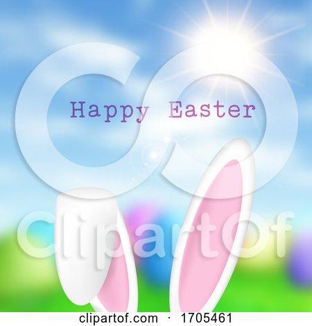Easter Bunny Ears on Defocussed Background by KJ Pargeter