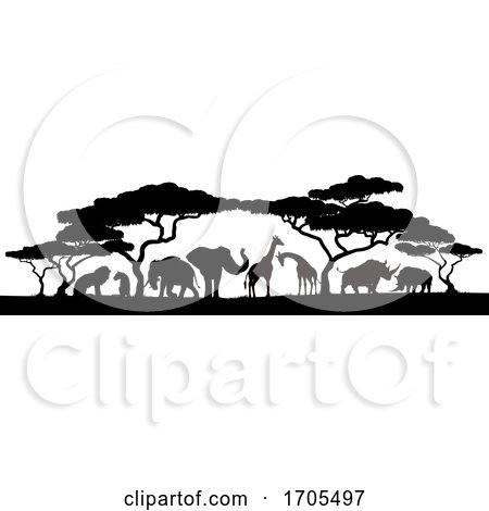 Animal Silhouettes African Safari Scene by AtStockIllustration