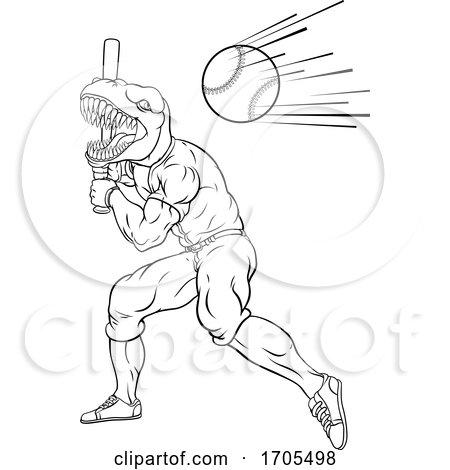 Dinosaur Baseball Player Mascot Swinging Bat by AtStockIllustration