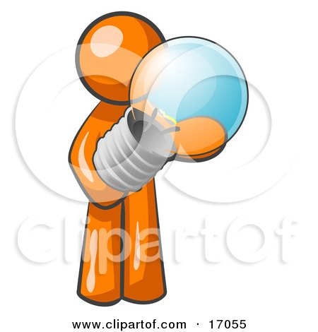 Orange Man Holding A Glass Electric Lightbulb, Symbolizing Utilities Or Ideas Clipart Illustration by Leo Blanchette
