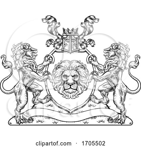 Coat of Arms Lions Crest Shield Family Seal by AtStockIllustration