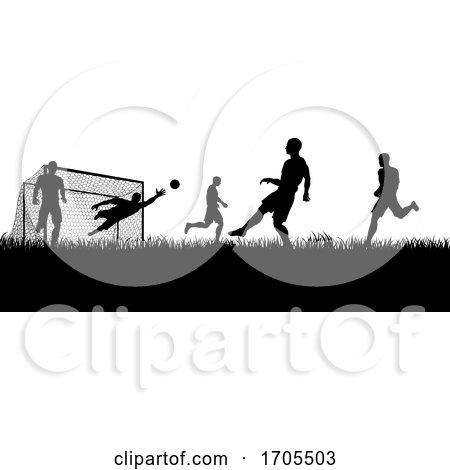 Soccer Football Players Silhouette Match Scene by AtStockIllustration