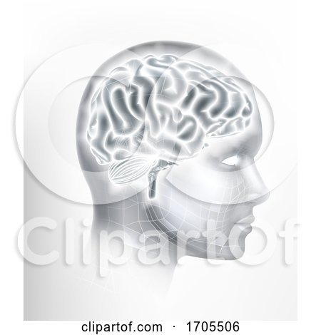Human Brain AI Head Face Intelligence Concept by AtStockIllustration