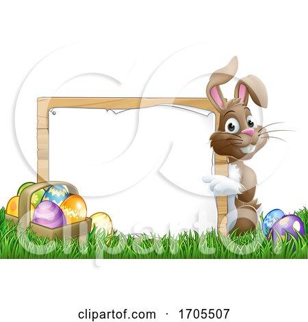 Easter Bunny Sign Eggs Basket Background Cartoon by AtStockIllustration