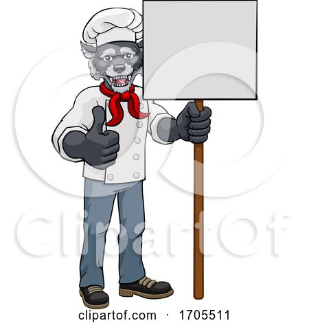 Wolf Chef Cartoon Restaurant Mascot Sign by AtStockIllustration