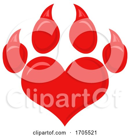 Heart Shaped Dog Paw Print by Hit Toon