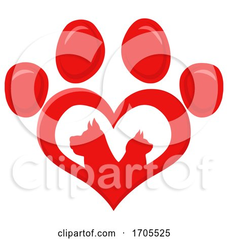 Heart Shaped Paw Print with Silhouetted Cat and Dog by Hit Toon