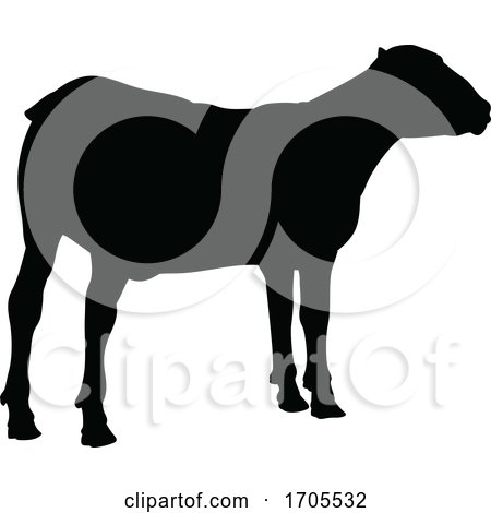 Sheep or Lamb Farm Animal in Silhouette by AtStockIllustration