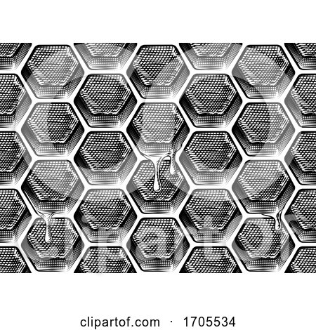 Honeycomb Honey Dripping Seamless Background by AtStockIllustration