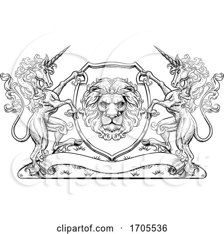 Crest Unicorn Horse Coat of Arms Lion Royal Shield by AtStockIllustration