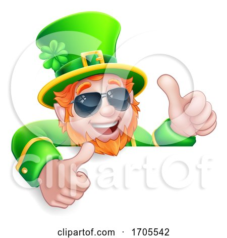 Leprechaun St Patricks Day Cartoon Sunglasses Sign by AtStockIllustration