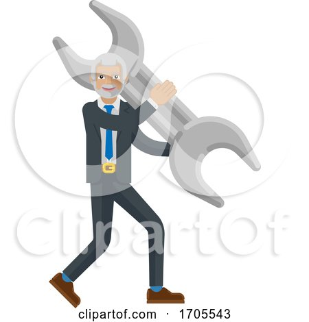 Mature Business Man Holding Spanner Wrench Concept by AtStockIllustration