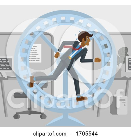 Tired Stressed Business Man Running Hamster Wheel by AtStockIllustration