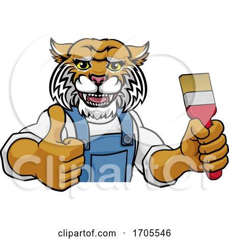 Wildcat Painter Decorator Holding Paintbrush Posters, Art Prints