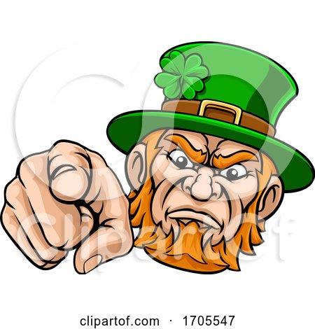 Leprechaun Pointing Finger at You Mascot Cartoon by AtStockIllustration