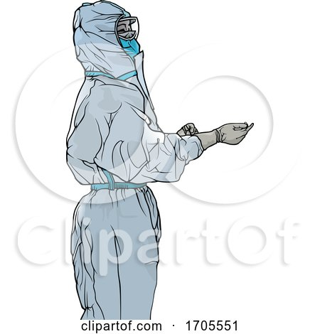 Emergency Medical Worker in a Protective Suit by dero