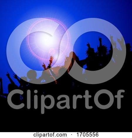 Silhouette Festival Event Crowd on Blue by elaineitalia
