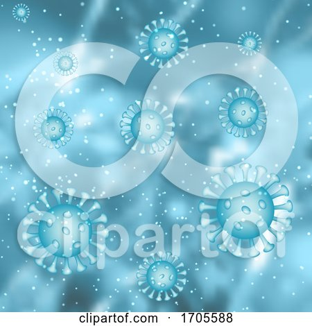 Medical Background with Abstract Virus Cells Depicting Covid 19 by KJ Pargeter