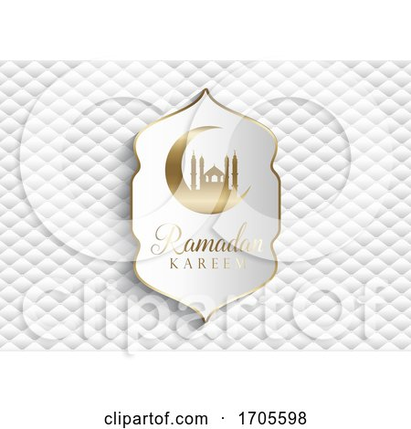 Elegant Ramadan Kareem Background in White and Gold by KJ Pargeter