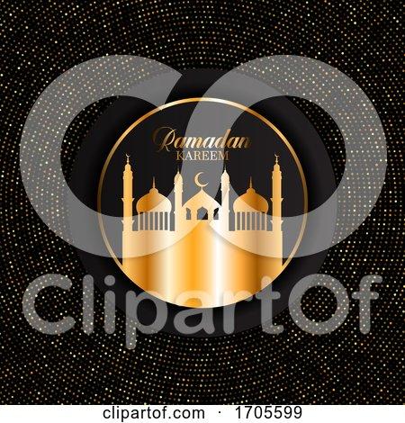 Elegant Ramadan Kareem Background with Gold Dots Design by KJ Pargeter