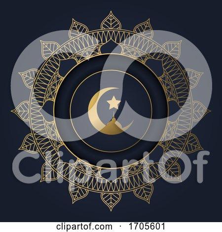 Ramadan Kareem Background with Decorative Circular Frame by KJ Pargeter