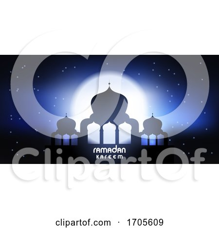 Ramadan Kareem Banner with Mosque Silhouette by KJ Pargeter