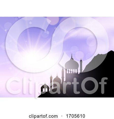 Ramadan Landscape with Mosques Against Sunny Sky by KJ Pargeter