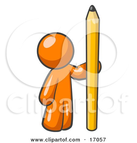 Orange Man Holding Up And Standing Beside A Giant Yellow Number Two Pencil Clipart Illustration by Leo Blanchette